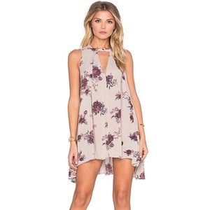 Free People Tree Swing Dress Washed Stone Combo